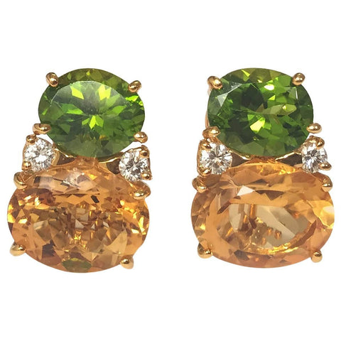 Large GUM DROP™ Earrings with Peridot and Citrine and Diamonds