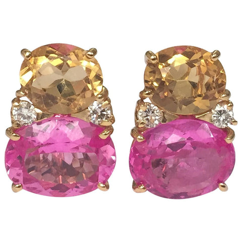 Large GUM DROP™ Earrings with Citrine and Pink Topaz and Diamonds