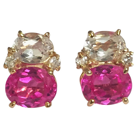 Mini GUM DROP™ Earrings with Rocky Crystal and Pink Topaz and Diamonds