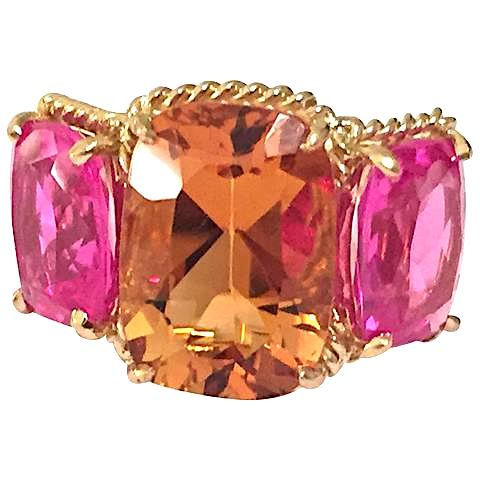Citrine pink topaz gold Three Stone Ring with Rope Twist Border