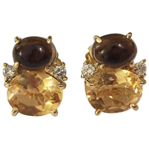 Mini GUM DROP™ ADELE Earrings with Citrine and Cabochon Smokey Topaz and Diamond
