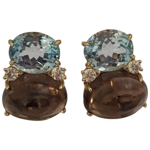 Large GUM DROP™ Earrings with Blue Topaz and Cabochon Smoky Topaz and Diamonds