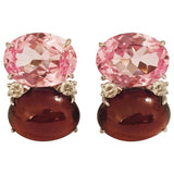 Jumbo GUM DROP™ Earrings with Pink Topaz and Cabochon Garnet and Diamonds