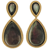 Pear Shaped Abalone Mother-of-Pearl Gold Drop Earrings with Rope Twist