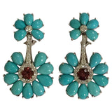 Turquoise Flower Stud Earrings with Diamond Center