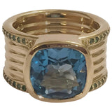 Blue Topaz Green Garnet Gold Cigar Band Ring