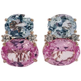 Large GUM DROP™ Earrings with Blue and Pink Topaz and Diamonds