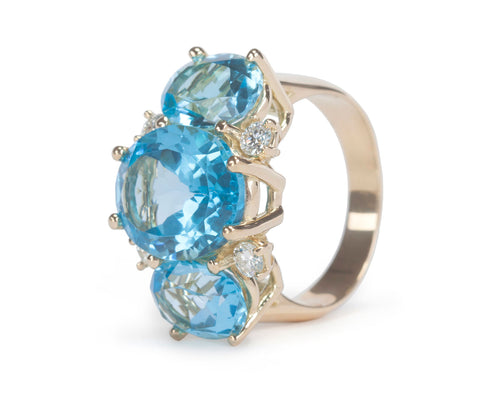 18kt Yellow Gold Medium Gum Drop three stone Ring with Blue Topaz Diamonds