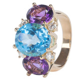 Medium GUM DROP™ Ring with Blue Topaz and Violet Amethyst and Diamonds