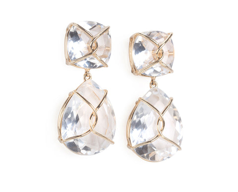 Rock Crystal and Gold Wrapped Cushion Drop Earrings