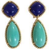 Yellow Gold Pear Drop Earring with White Jade and Bezel Set Turquoise Accent