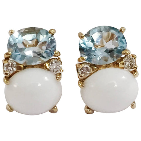 Medium GUM DROP™ earrings With Blue Topaz and Cabochon White Jade and Diamonds