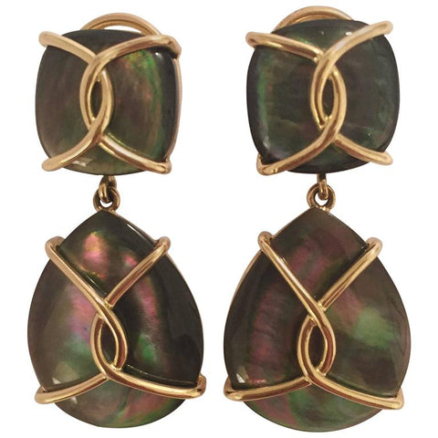 Large 18kt Yellow Gold Abalone Cushion and pear shaped Drop Earrings with Twisted Gold Detail