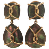 18kt Yellow Gold Abalone Cushion and pear shaped Drop Earrings with Twisted Gold Detail