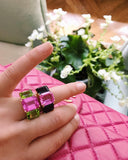 Bright Blue and Bright Pink Topaz Emerald cut three stone ring