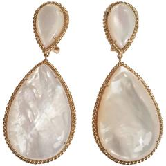 Mother-of-Pearl Drop Earrings with Elegant Rope Twist Border