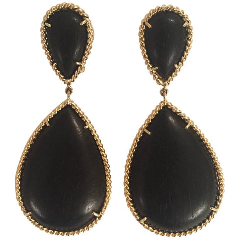 Elegant Ebony Wood Drop Earring with Twisted Gold Border