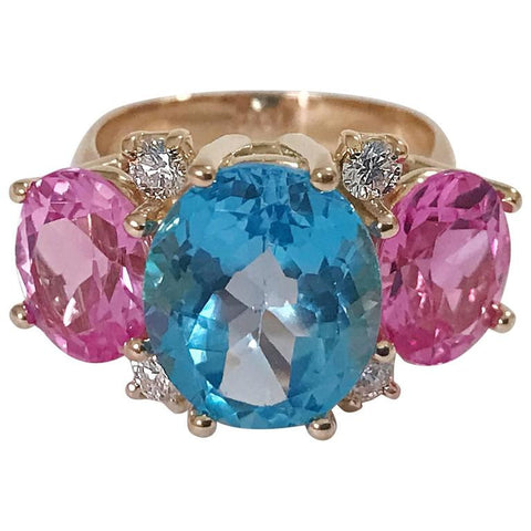 Medium GUM DROP™ Ring Blue Topaz Pink Topaz