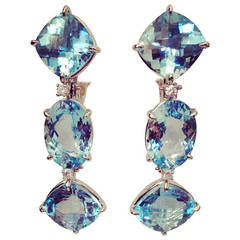 18kt White Gold Blue Topaz and Diamond Three Stone Cushion Drop Earring
