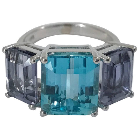 18kt White Gold Three Stone Emerald Cut Ring with Blue Topaz and Iolite