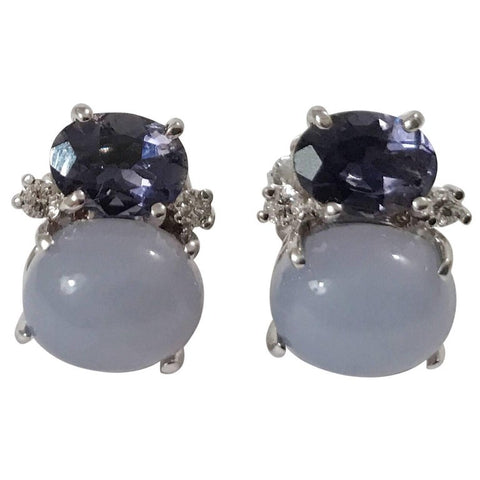 Mini GUM DROP™ Earrings with Iolite and Cabochon Chalcedony and Diamonds