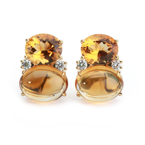 Large GUM DROP™ Earrings with Citrine and Cabochon Citrine and Diamonds