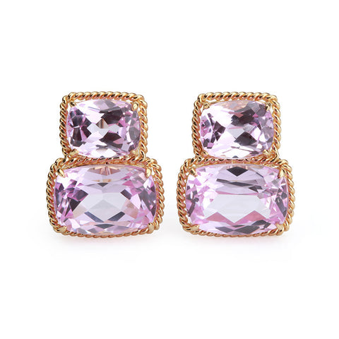 Pink Topaz Gold Rope Twist Border Cushion Earrings - medium size