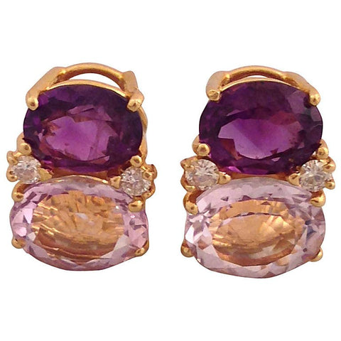 Medium GUM DROP™ Earrings with Amethyst and Pale Amethyst and Diamonds