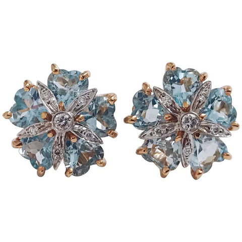 Blue Topaz Diamond Mini Sand Dollar Earrings