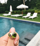 Bonheur Ring, Pink Topaz and Peridot and Diamond Yellow Gold Domed Ring