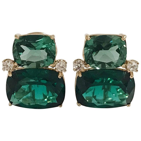Double Cushion Green Amethyst Stone Diamond Yellow Gold Earrings