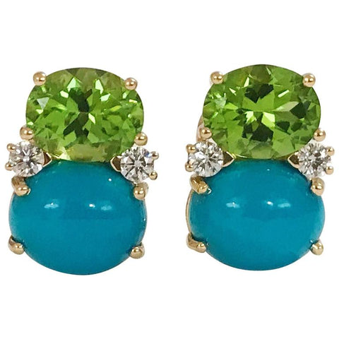 Medium GUM DROP™ Peridot Turquoise Diamonds Earrings