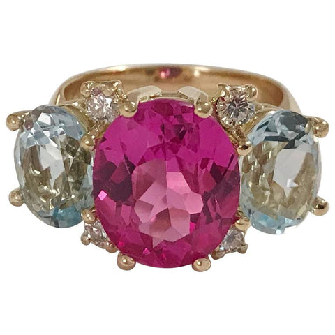 Medium GUM DROP™ Ring with Pink and Blue Topaz