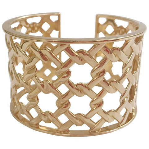 Basket Weave Yellow Gold Hinged Cuff Bracelet