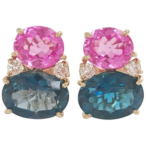 Large GUM DROP™ Earrings with Hot Pink and Deep Blue Topaz and Diamonds