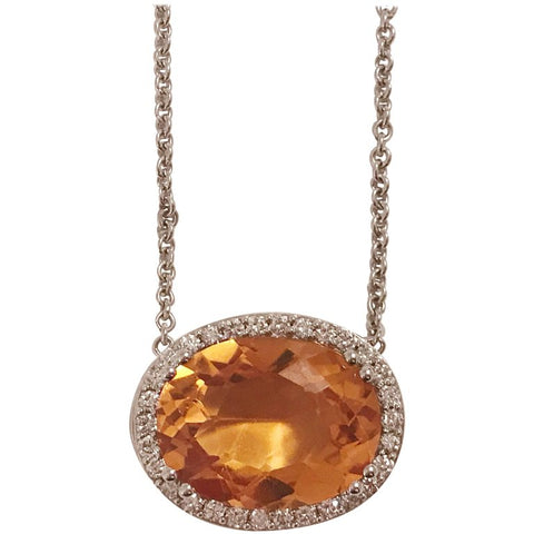 Deep Citrine Pendant Necklace with Surrounding Diamonds