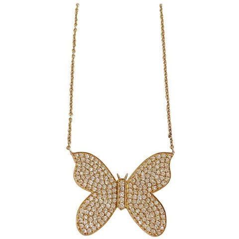 18kt Yellow Gold Butterfly Necklace with Pave Diamonds