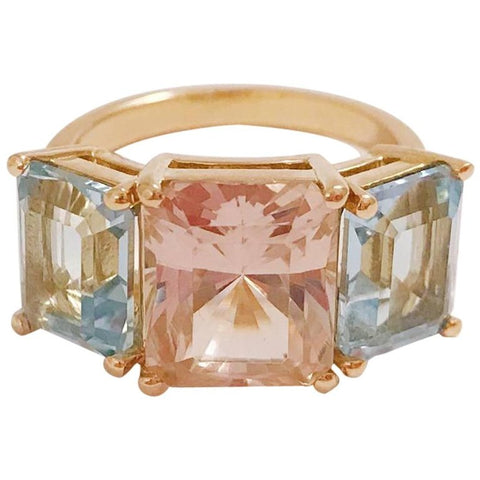 Yellow Gold Semi Precious Mini Emerald Cut Ring
