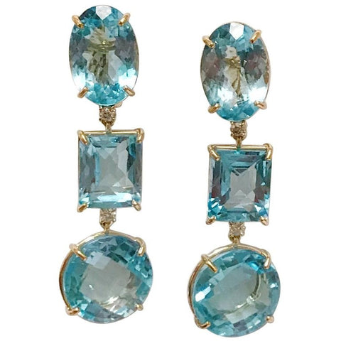 18kt Yellow Gold Three Drop Earring with Blue Topaz and Diamond