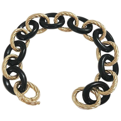Alternating Yellow Gold Twist and Onyx Link Bracelet