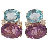 Large Gum Drop Earrings with Pale Blue Topaz and Bright Amethyst and Diamonds