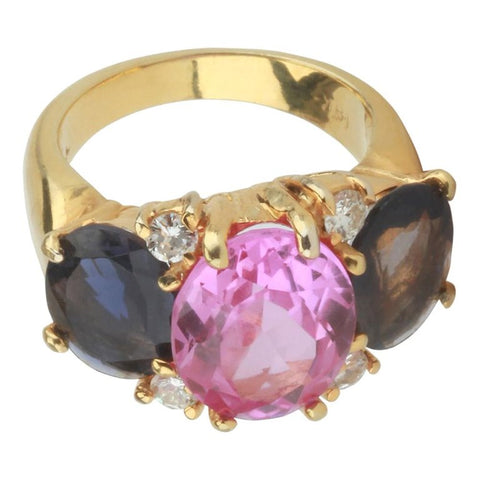 Medium 18 Karat White Gold Gum Drop Ring with Pink Topaz and Iolite