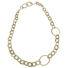 Yellow Gold Flat Oval Link Necklace