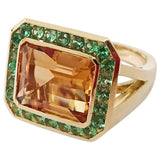 Yellow Gold Bezel Set Citrine with Surrounding Tsavorite Ring