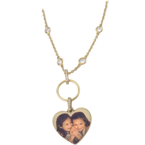 "Personalized Gold Heart Shaped Picture Pendant on White Topaz ""by the Yard"" type Chain"