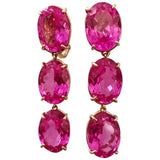Elegant Three-Stone Drop Earrings with Pink Topaz