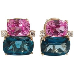 Double Cushion Pink and Blue Topaz Stone Diamond Yellow Gold Earrings