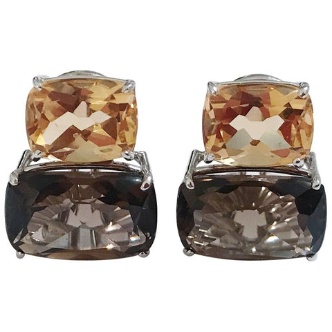 White Gold Double Cushion Earrings with Citrine and Smokey Topaz