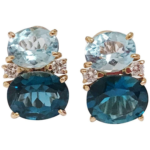 Medium GUM DROP™ Earrings with Two-Toned Blue Topaz and Diamonds