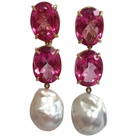 Elegant Three-Stone Drop Earring with Pink Topaz and Baroque Pearl
